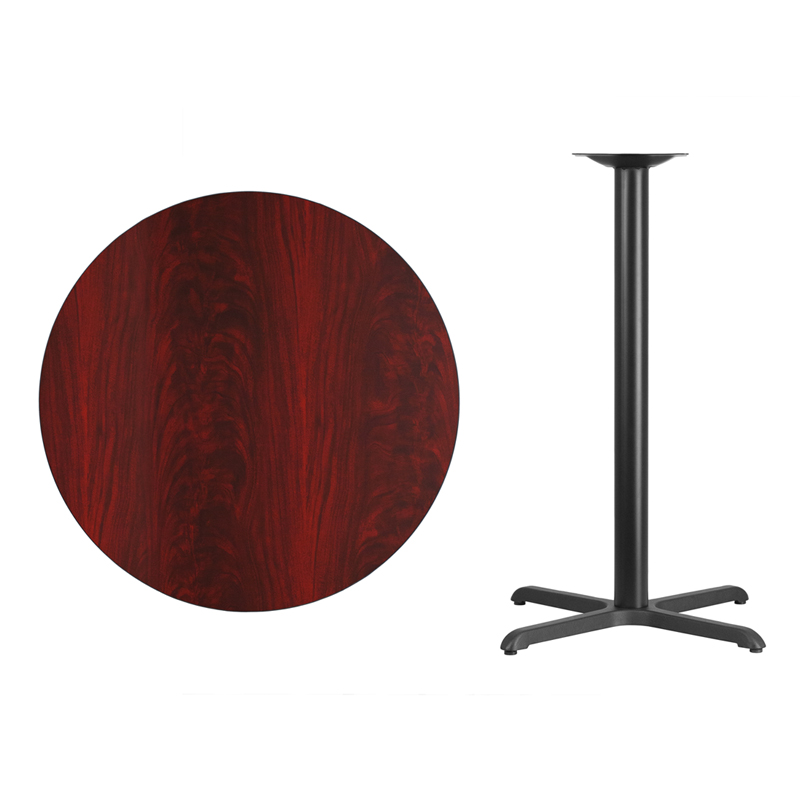 #36 - 36'' Round Mahogany Laminate Table Top with 30'' x 30'' Bar Height Base