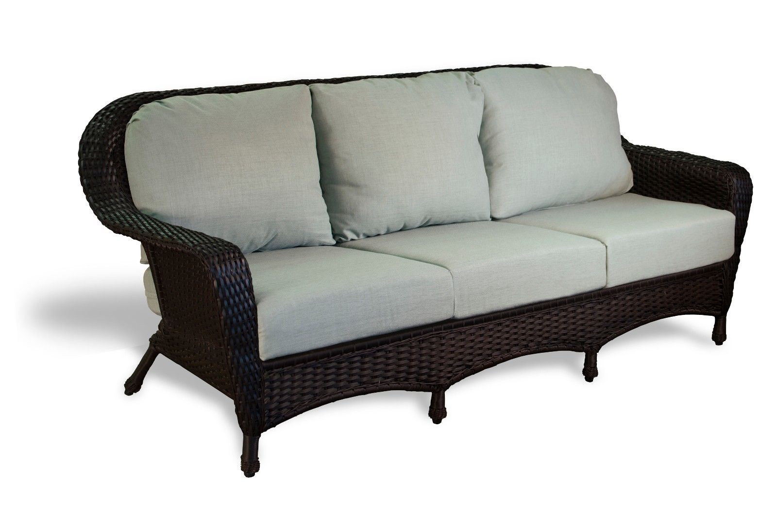 #52 - Outdoor Patio Garden Furniture Tortoise Resin Wicker Sofa -  Rave Spearmint Cushion