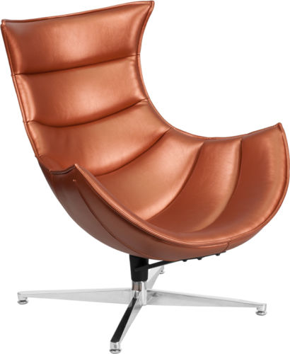 #49 - Retro Style Copper Leather Swivel Cocoon Accent Chair - Cocoon Lounge Chair