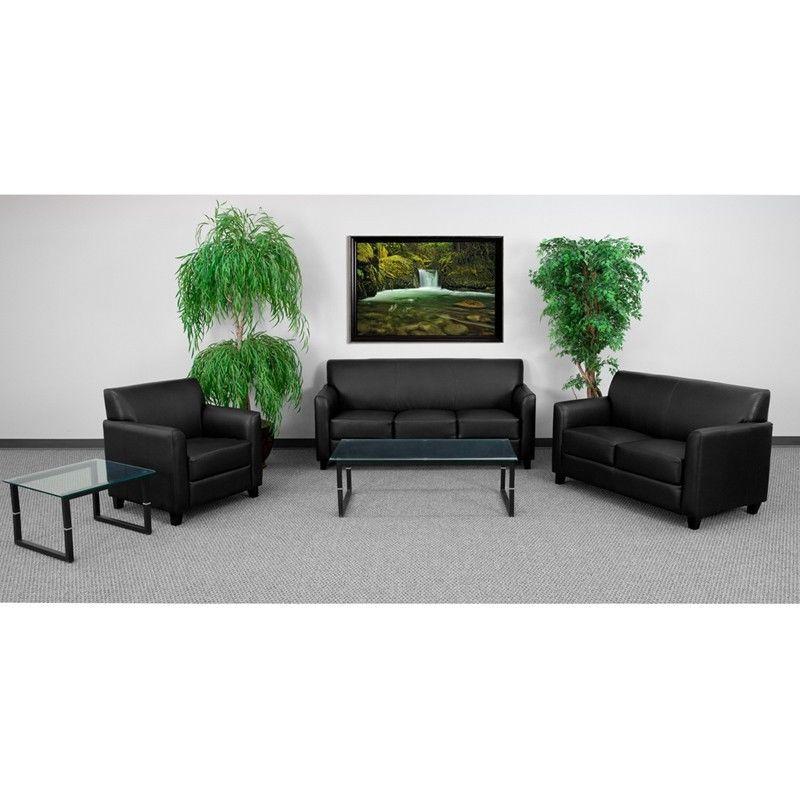 #8 - 3pc Diplomat Series Black Leather Reception Furniture Set - Lounge Furniture Set
