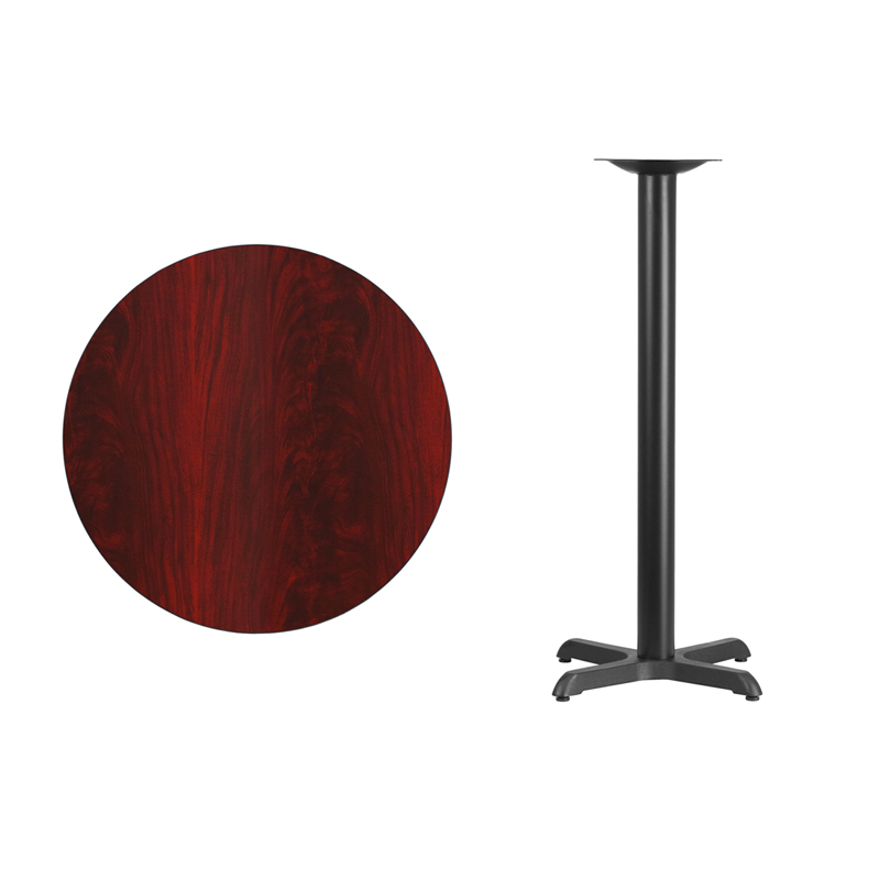 #20 - 30'' Round Mahogany Laminate Table Top with 22'' x 22'' Bar Height Base