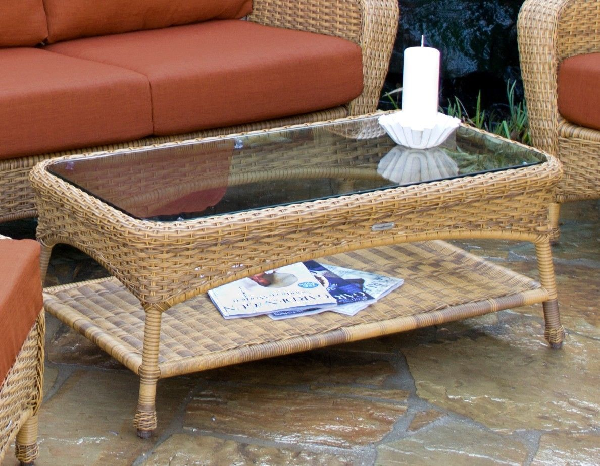 #151 - Outdoor Patio Furniture Mojave Resin Wicker Glass Coffee Table w/ Aluminum Frame