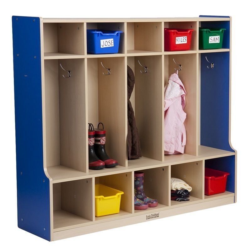 #3 - 5-Section Coat Locker with bench in Blue