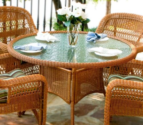 #31 - 5 Pcs Outdoor Patio Southwest Amber Resin Wicker Dining Set & Chocolate Fabric
