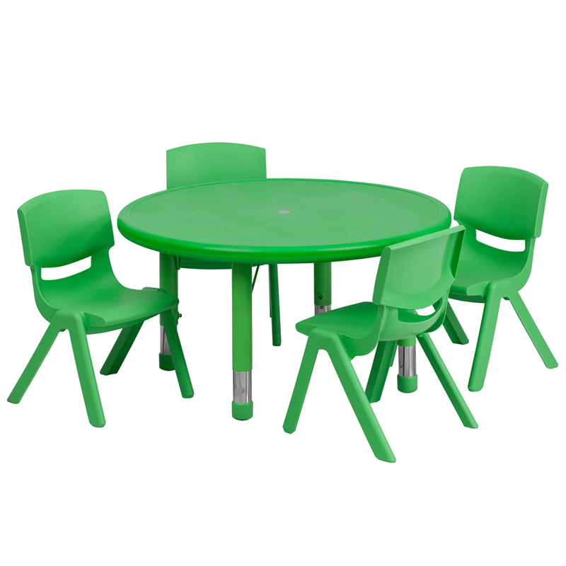 #34 - 33'' ROUND ADJUSTABLE GREEN PLASTIC ACTIVITY TABLE SET WITH 4 SCHOOL STACK CHAIRS
