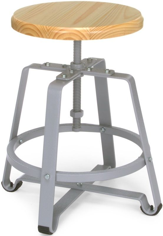 #85 - Industrial Style Adjustable Small Metal Stool with Maple Seat and Legs