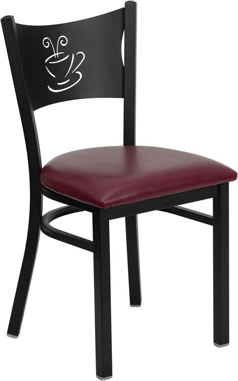 #79 - BLACK COFFEE BACK METAL RESTAURANT CHAIR - BURGUNDY VINYL SEAT