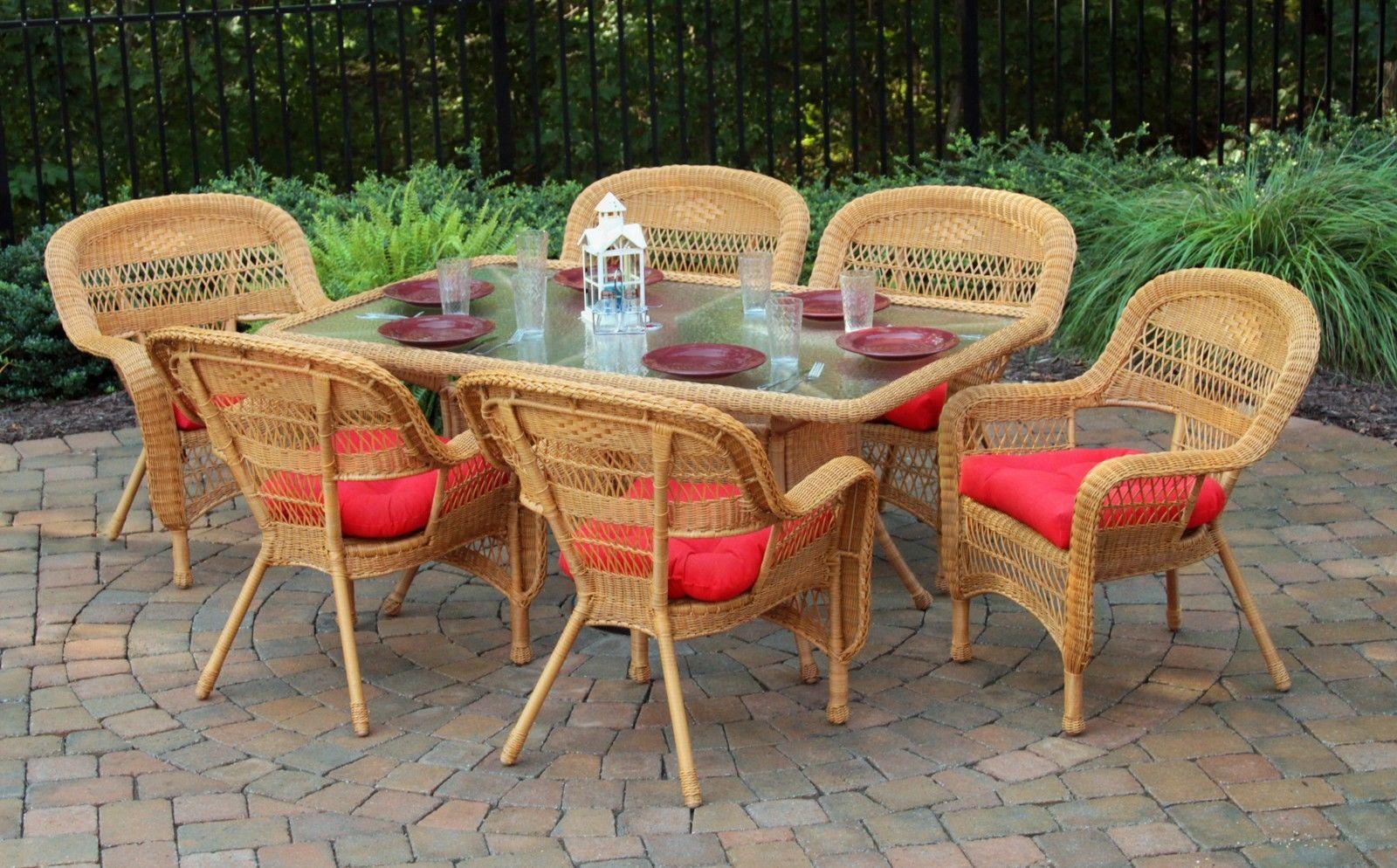 #5 - 7 Pcs Outdoor Patio Dining Set w/ Southwest Amber Resin Wicker & Monti Pompeii
