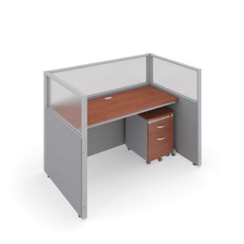 #15 - 47'' H x 60'' W Rize Office Privacy WorkStation in Gray Vinyl w/Cherry Finish