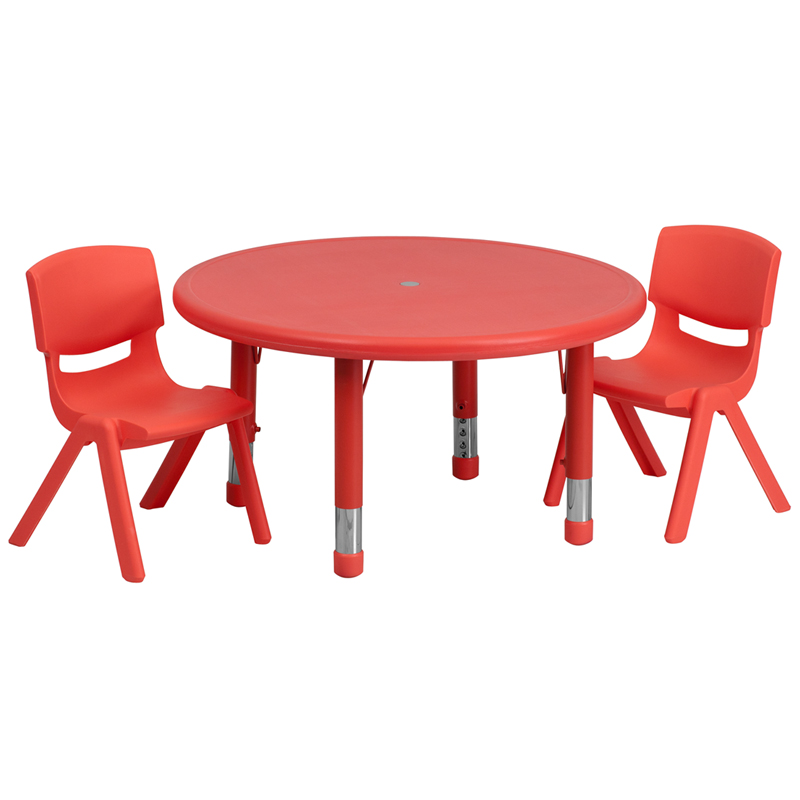#35 - 33'' ROUND ADJUSTABLE RED PLASTIC ACTIVITY TABLE SET WITH 2 SCHOOL STACK CHAIRS