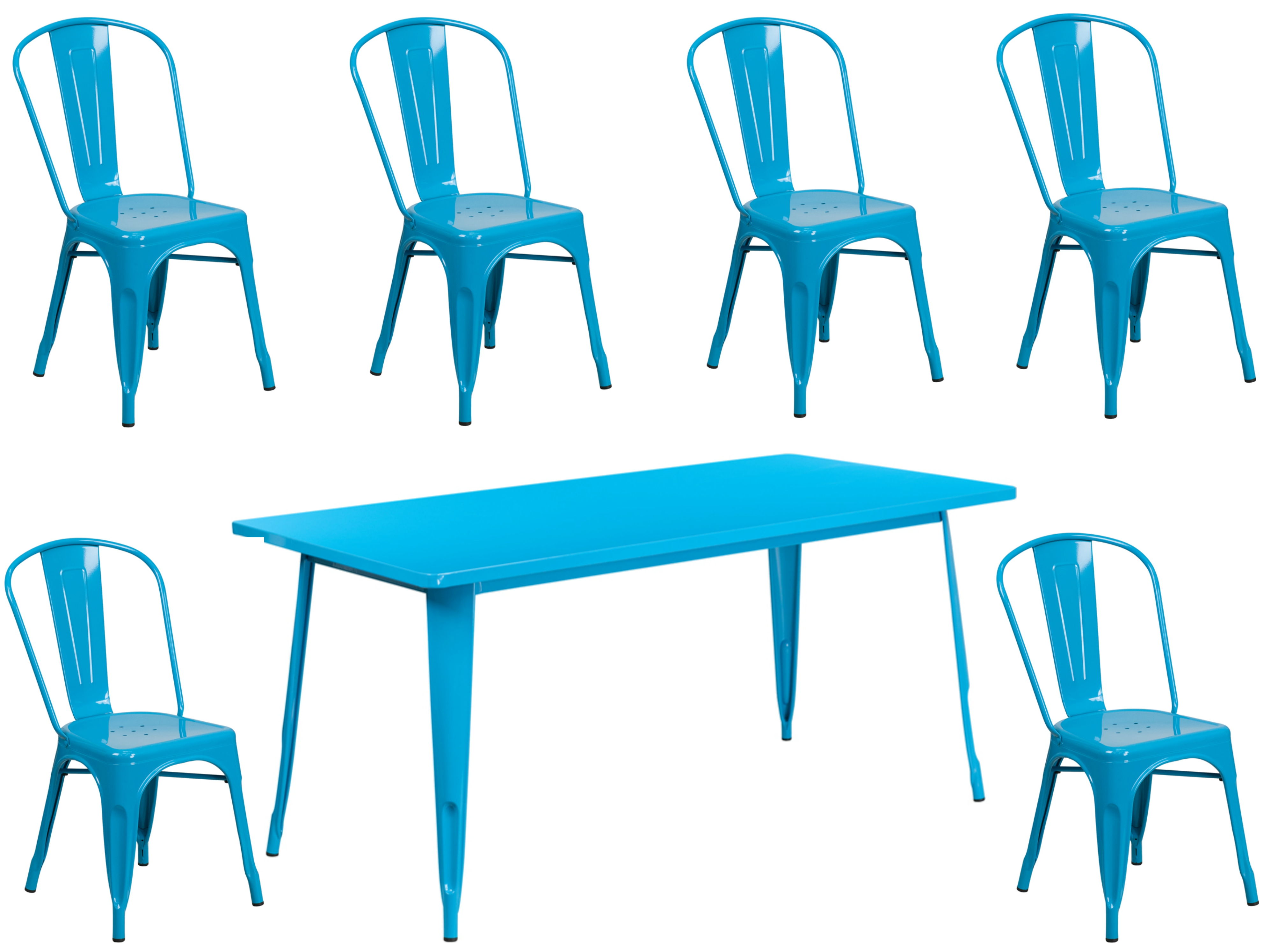 #88 - 31.5'' x 63'' Industrial Crystal Blue Metal Indoor & Outdoor Restaurant Table Set with 6 Stack Chairs