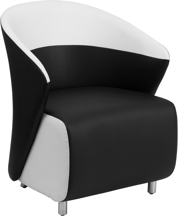 #9 - BLACK LEATHER RECEPTION CHAIR WITH WHITE DETAILING