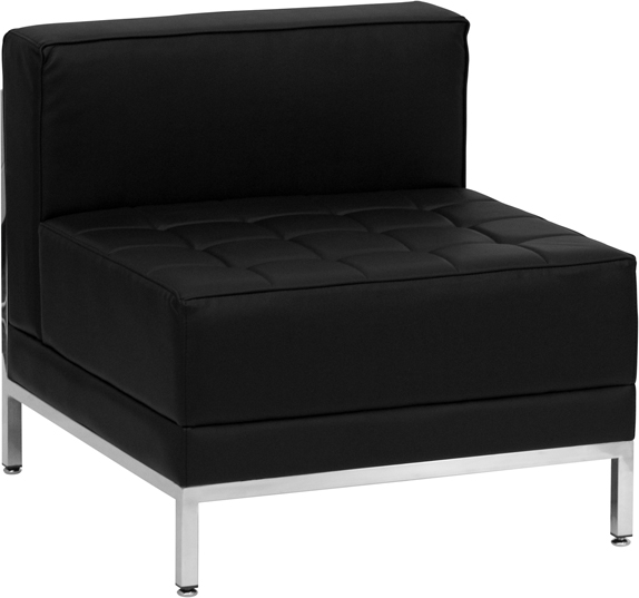 #21 - 3 Piece Imagination Series Black Leather Lounge Chair Set