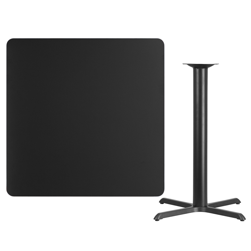 #105 - 42'' SQUARE BLACK LAMINATE TABLE TOP WITH 33'' X 33'' BAR HEIGHT BASE