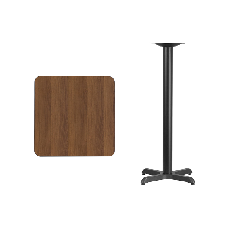 #71 - 24'' SQUARE WALNUT LAMINATE TABLE TOP WITH 22'' X 22'' BAR HEIGHT BASE