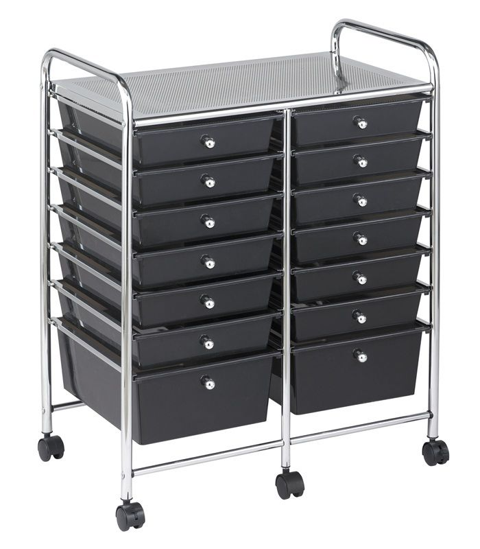#59 - 14 Drawer Mobile Organizer in Black