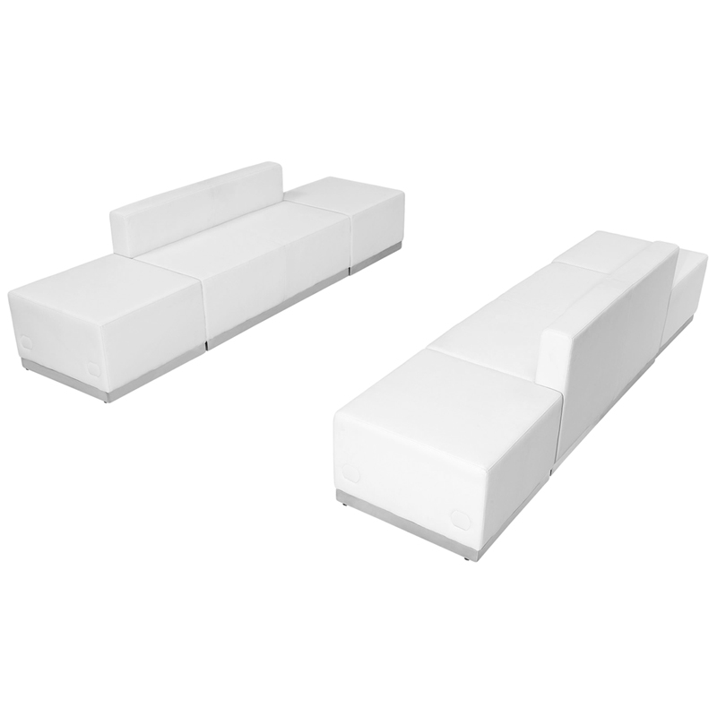 #92 -  LOUNGE SERIES WHITE LEATHER RECEPTION CONFIGURATION, 6 PIECES