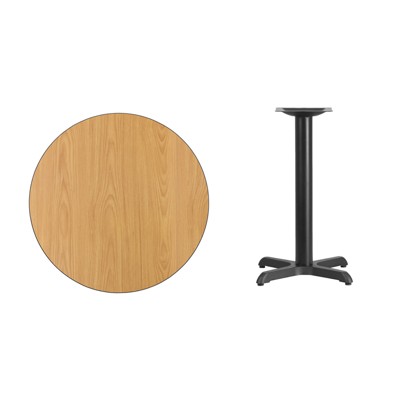 #21 - 30'' Round Natural Laminate Table Top with 22'' x 22'' Table Height Base