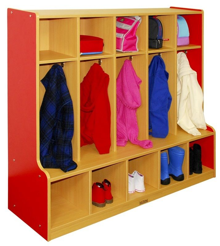#11 - 5-Section Coat Locker with Bench in Red