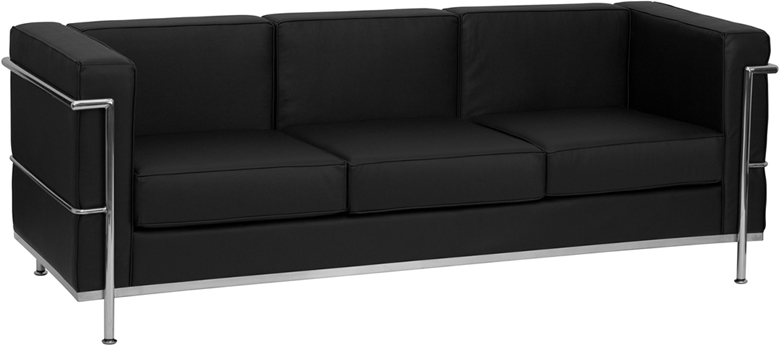 #13 - REGAL SERIES CONTEMPORARY BLACK LEATHER SOFA WITH ENCASING FRAME