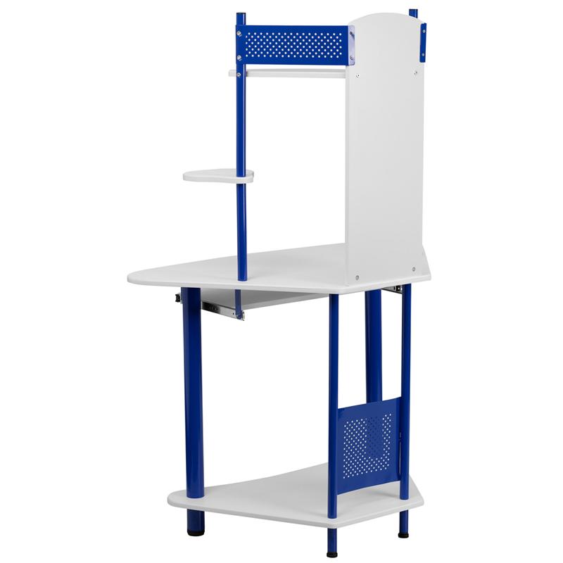 #107 - Blue Corner Computer Desk with Hutch
