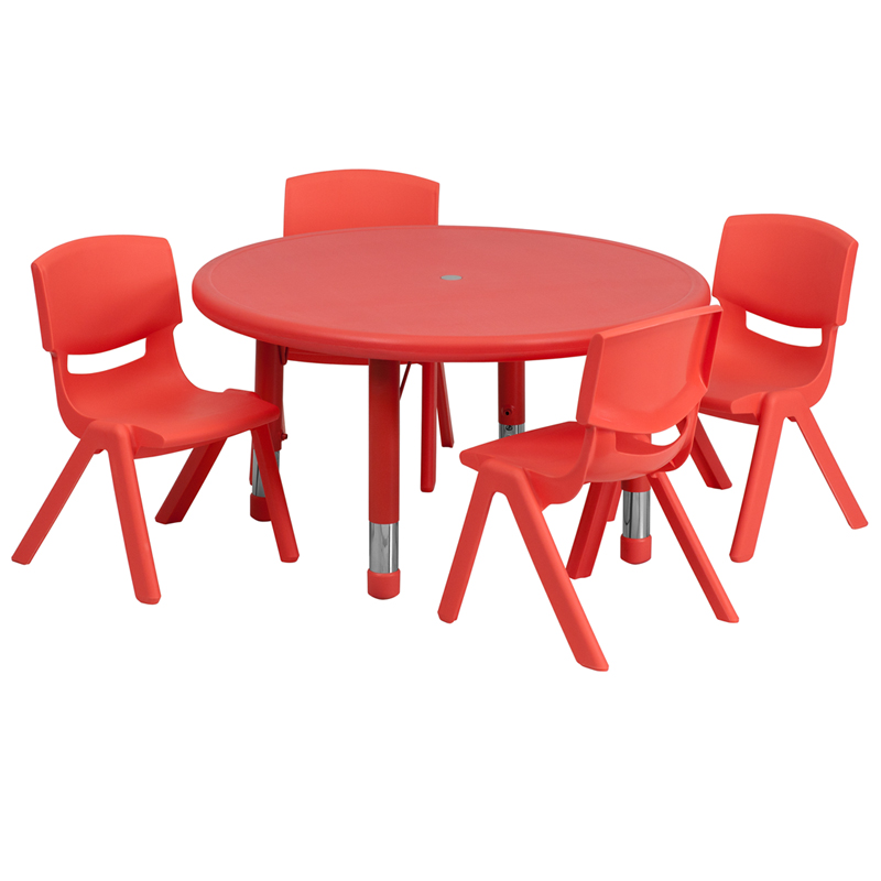 #36 - 33'' ROUND ADJUSTABLE RED PLASTIC ACTIVITY TABLE SET WITH 4 SCHOOL STACK CHAIRS