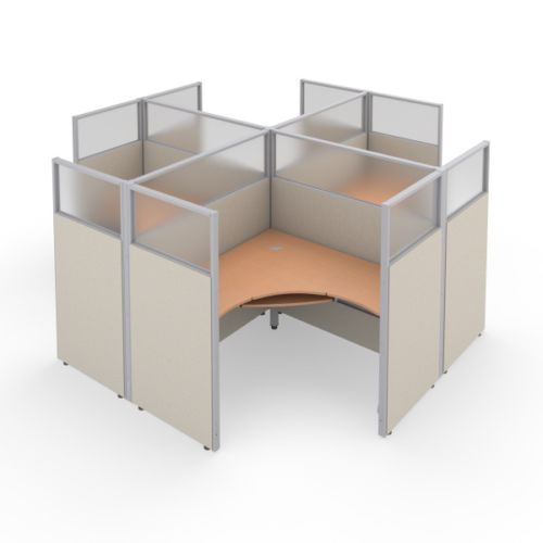 #38 - Rize 2x2 63'' H x 60'' W Office Cubicle WorkStation Beige Vinyl w/Maple Finish