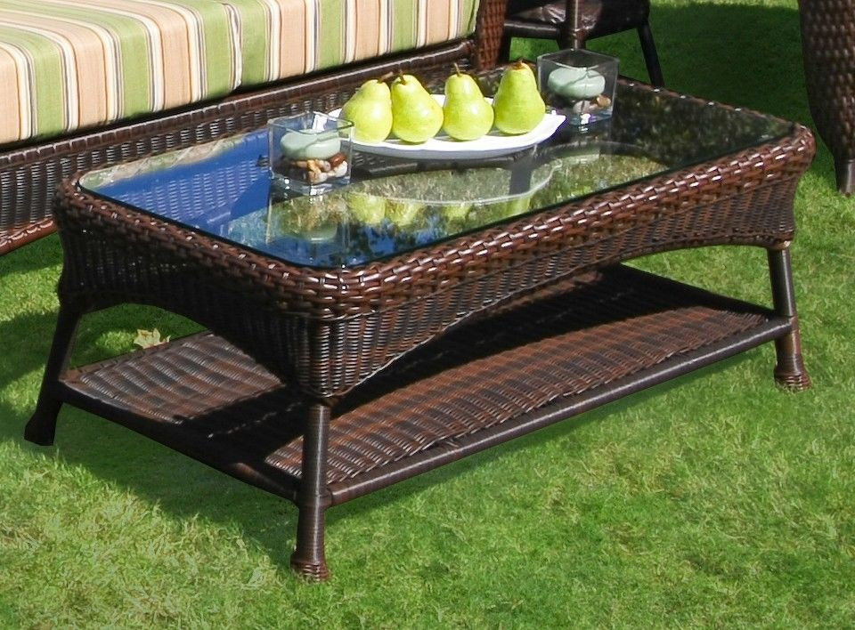 #152 - Outdoor Patio Furniture Java Resin Wicker Glass Coffee Table with Aluminum Frame