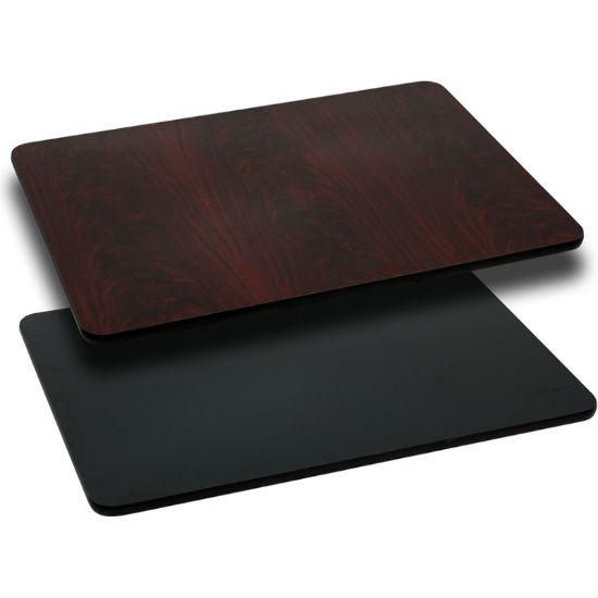 #13 - 30'' X 48'' RECTANGULAR TABLE TOP WITH BLACK OR MAHOGANY REVERSIBLE LAMINATE TOP