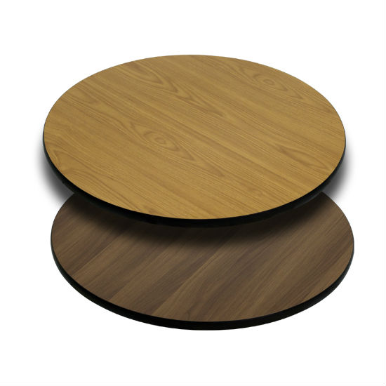 #16 - 30'' ROUND TABLE TOP WITH NATURAL OR WALNUT REVERSIBLE LAMINATE TOP