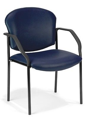 108 - Manor Series Anti-Microbial/Anti-Bacterial Navy Vinyl Reception Chair w/Arms