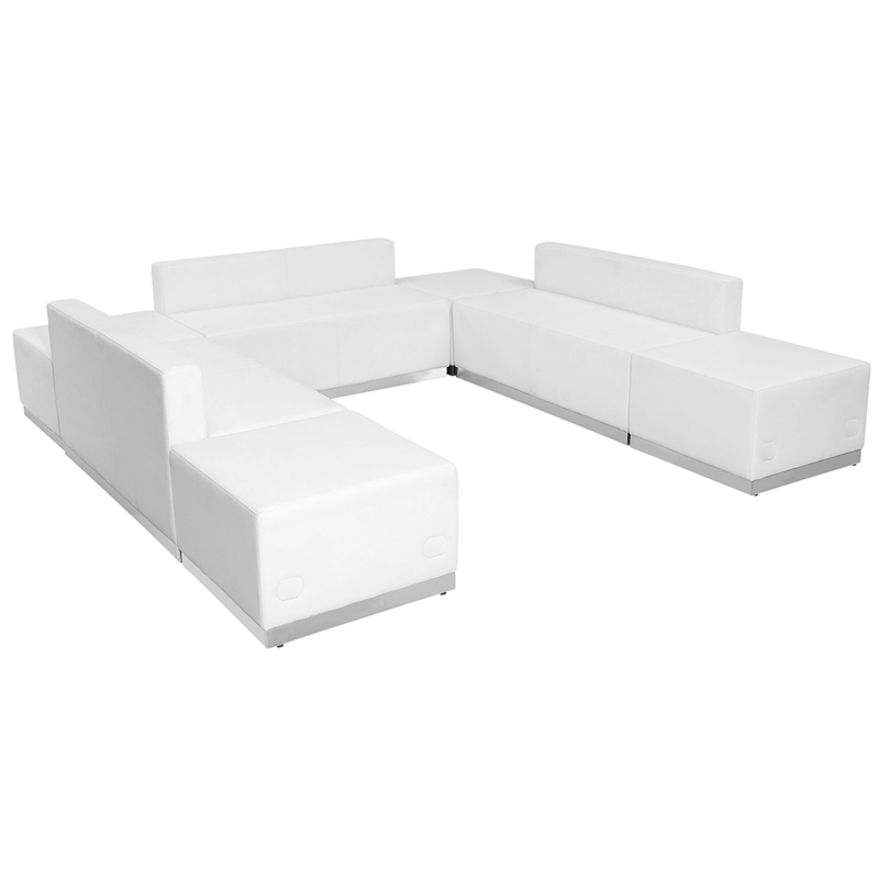 #94 - LOUNGE SERIES WHITE LEATHER RECEPTION CONFIGURATION, 7 PIECES