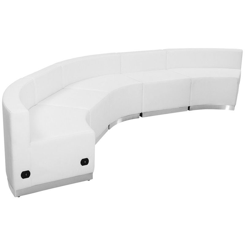 #80 - LOUNGE SERIES WHITE LEATHER RECEPTION CONFIGURATION, 5 PIECES