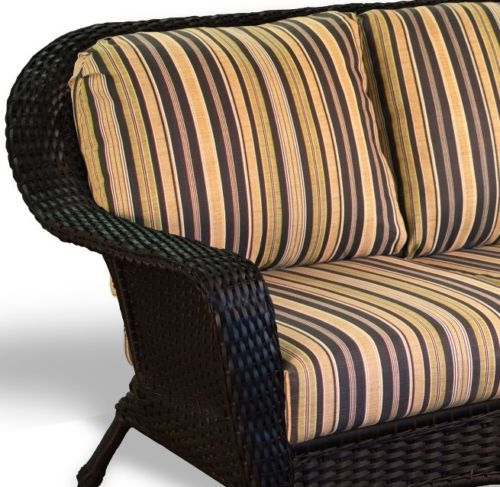 #53 - Outdoor Patio Garden Furniture Tortoise Resin Wicker Sofa - Vera Cruz Coal Cushion
