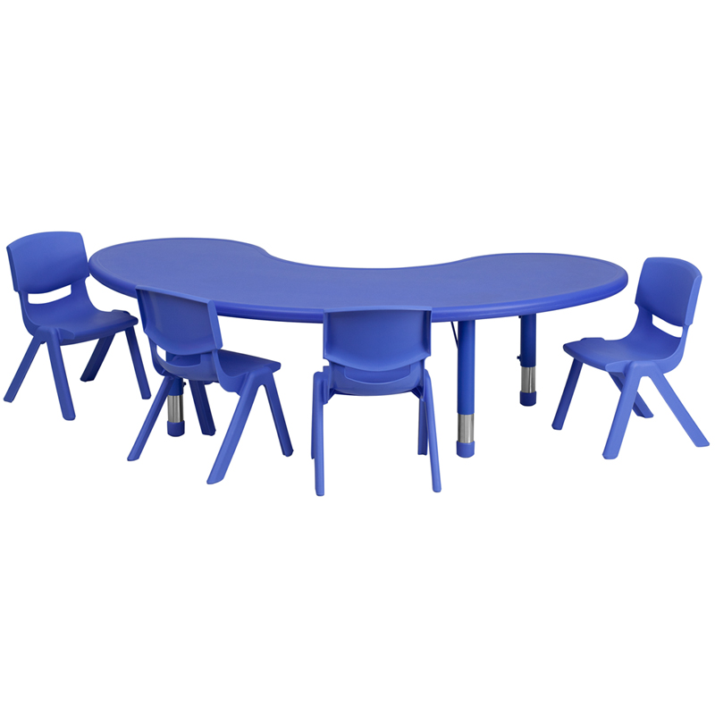 #37 - 35''W X 65''L ADJUSTABLE HALF-MOON BLUE PLASTIC ACTIVITY TABLE SET WITH 4 SCHOOL STACK CHAIRS