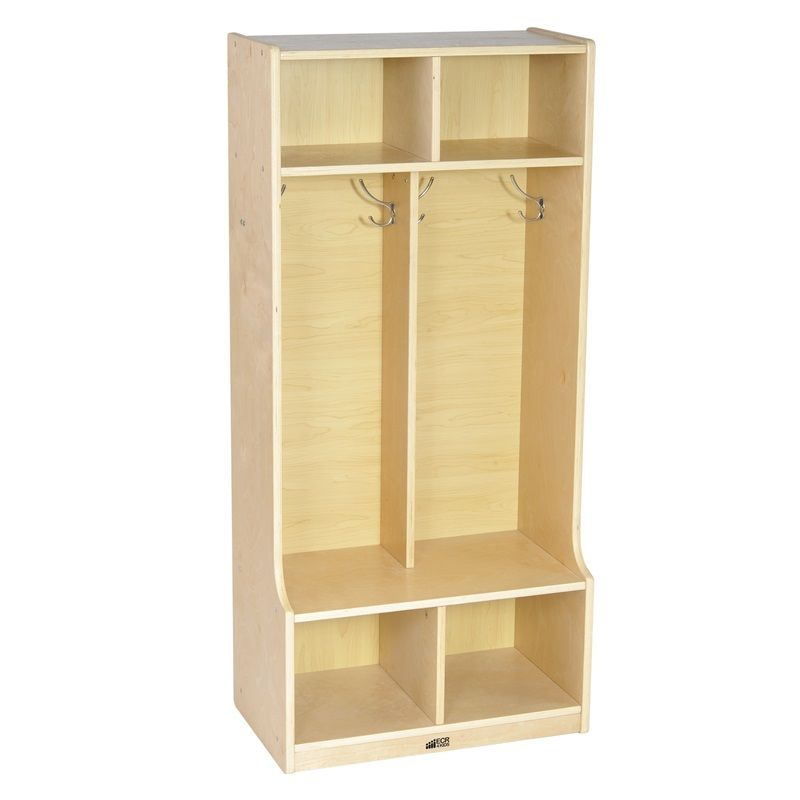 #6 - 2-Section Birch Coat Locker with Bench