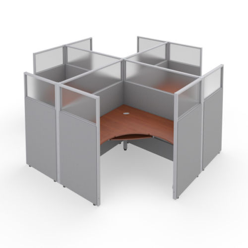 #39 - Rize 2x2 63'' H x 60'' W Office Cubicle WorkStation Gray Vinyl w/Cherry Finish