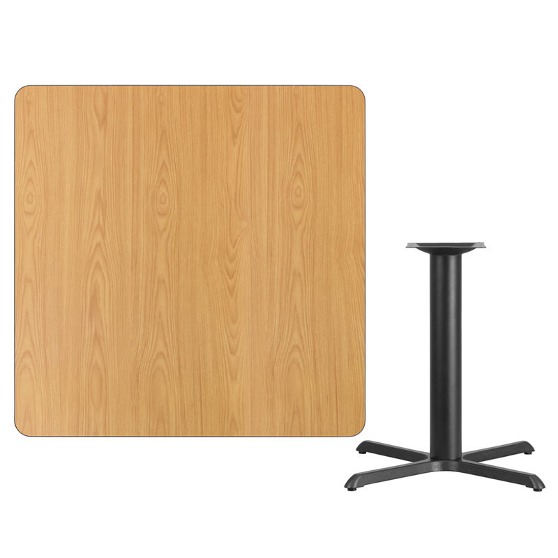 #108 - 42'' SQUARE NATURAL LAMINATE TABLE TOP WITH 33'' X 33'' TABLE HEIGHT BASE