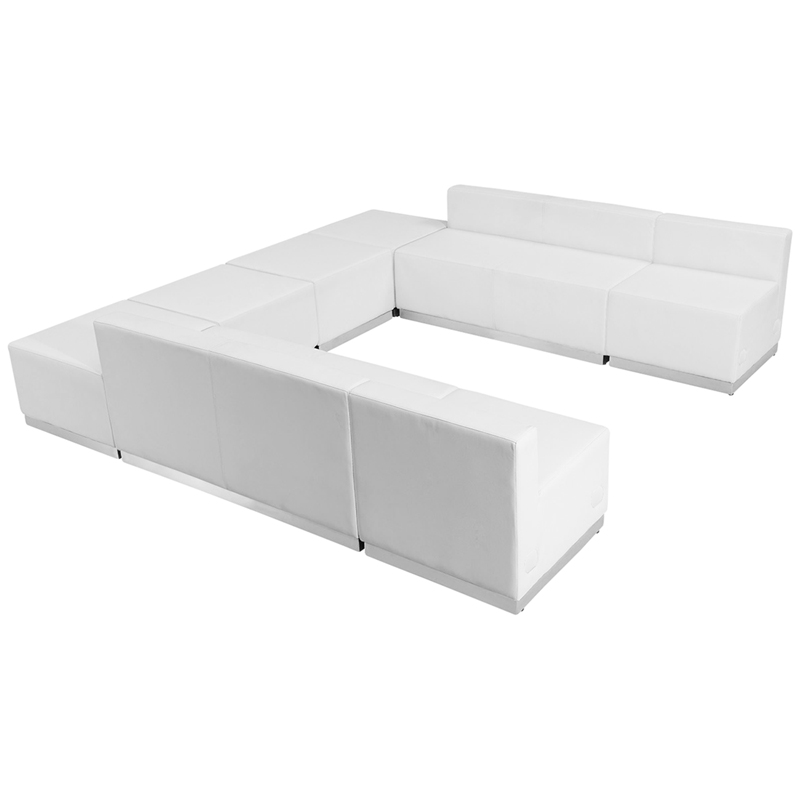 #95 - LOUNGE SERIES WHITE LEATHER RECEPTION CONFIGURATION, 8 PIECES