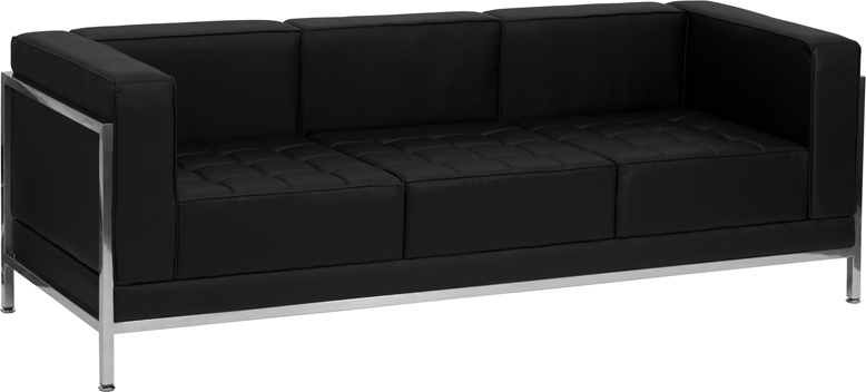 #15 - IMAGINATION SERIES CONTEMPORARY BLACK LEATHER SOFA WITH ENCASING FRAME