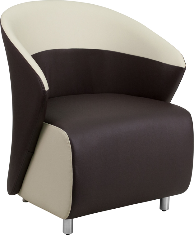 #11 - DARK BROWN LEATHER RECEPTION CHAIR WITH BEIGE DETAILING