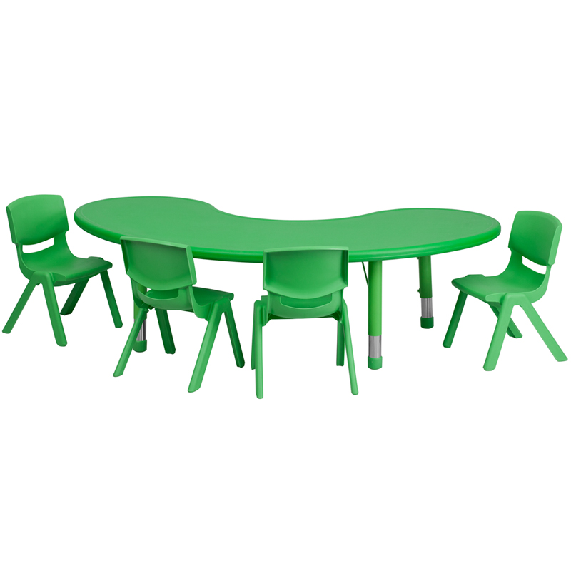 #38 - 35''W X 65''L ADJUSTABLE HALF-MOON GREEN PLASTIC ACTIVITY TABLE SET WITH 4 SCHOOL STACK CHAIRS
