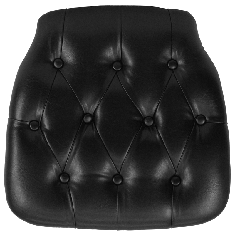 #17 - HARD BLACK TUFTED VINYL CHIAVARI CHAIR CUSHION