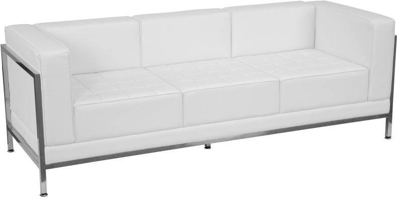 #16 - IMAGINATION SERIES CONTEMPORARY WHITE LEATHER SOFA WITH ENCASING FRAME