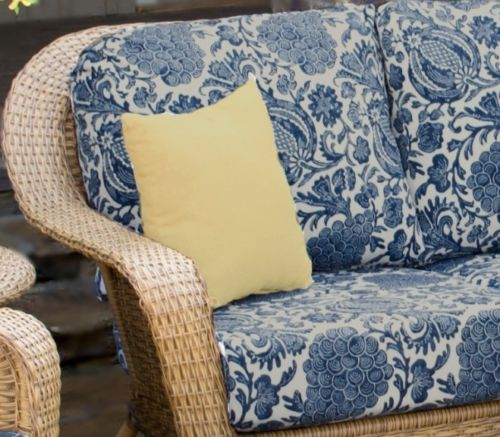 #54 - Outdoor Patio Garden Furniture Mojave Resin Wicker Sofa - Indigo With Rave Yellow Cushions