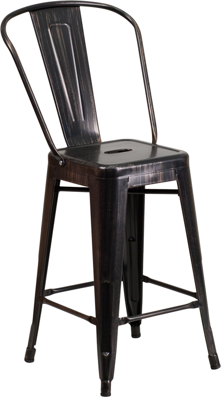 #13 - 24'' Black Antique Gold Metal Indoor-Outdoor Counter Height Stool - Industrial Style Stool