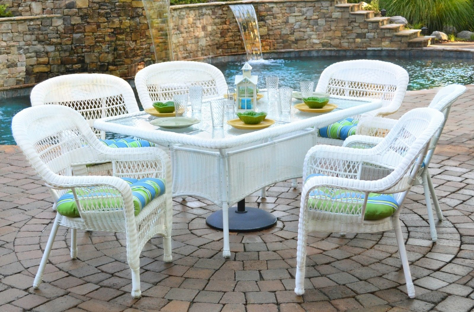 #6 - 7 Pc Outdoor Patio Dining Set w/White Coastal Resin Wicker - Haliwell Carribean
