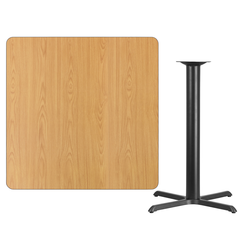 #109 - 42'' SQUARE NATURAL LAMINATE TABLE TOP WITH 33'' X 33'' BAR HEIGHT BASE