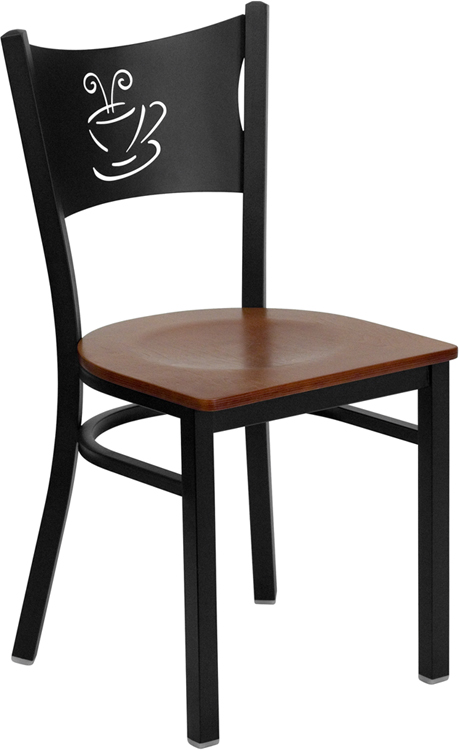 #80 - BLACK COFFEE BACK METAL RESTAURANT CHAIR - CHERRY WOOD SEAT