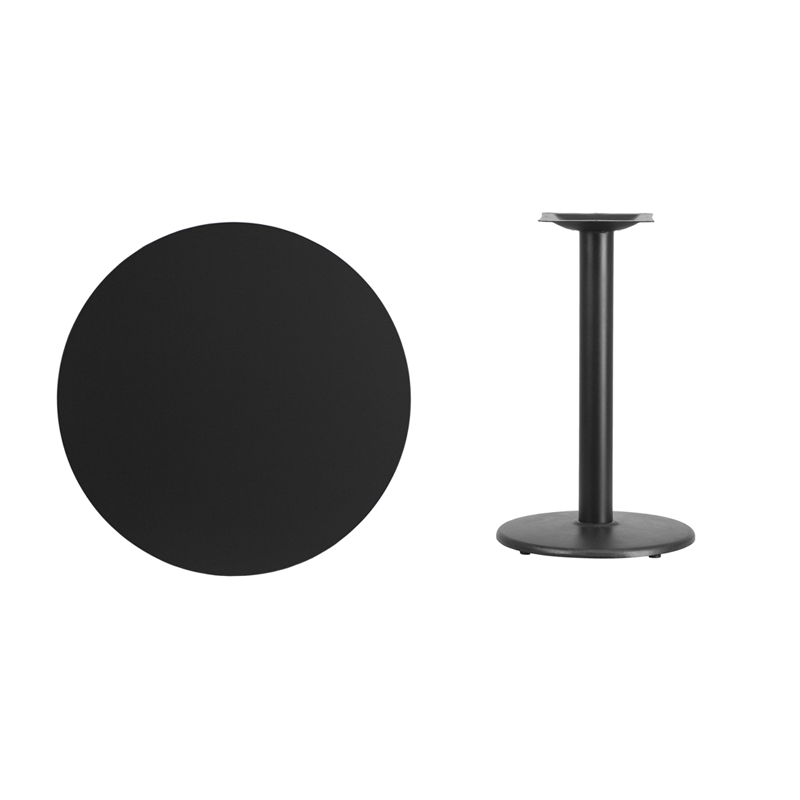 #25 - 30'' Round Black Laminate Table Top with 18'' Round Table Height Base